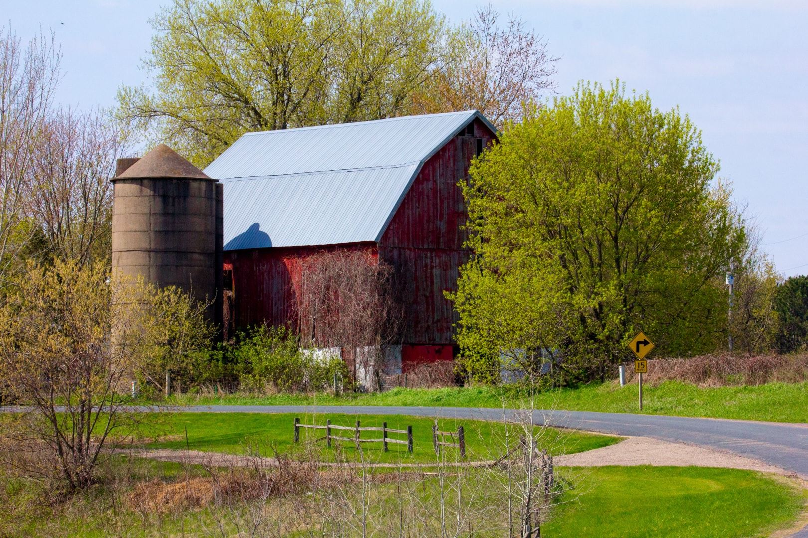 Weathered Red Barn and Silo