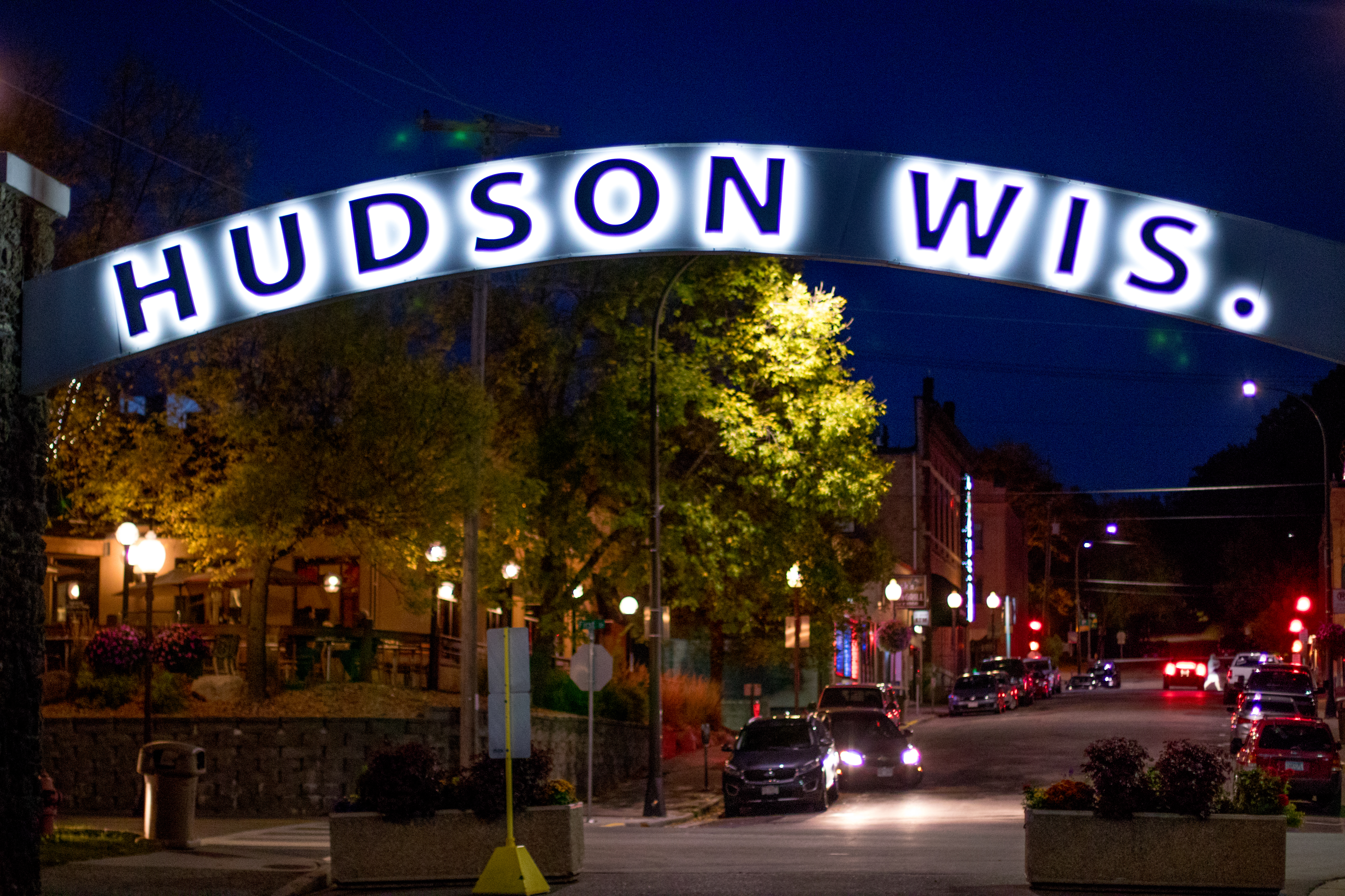 Hudson Wisconsin Sign Lit Up at Night