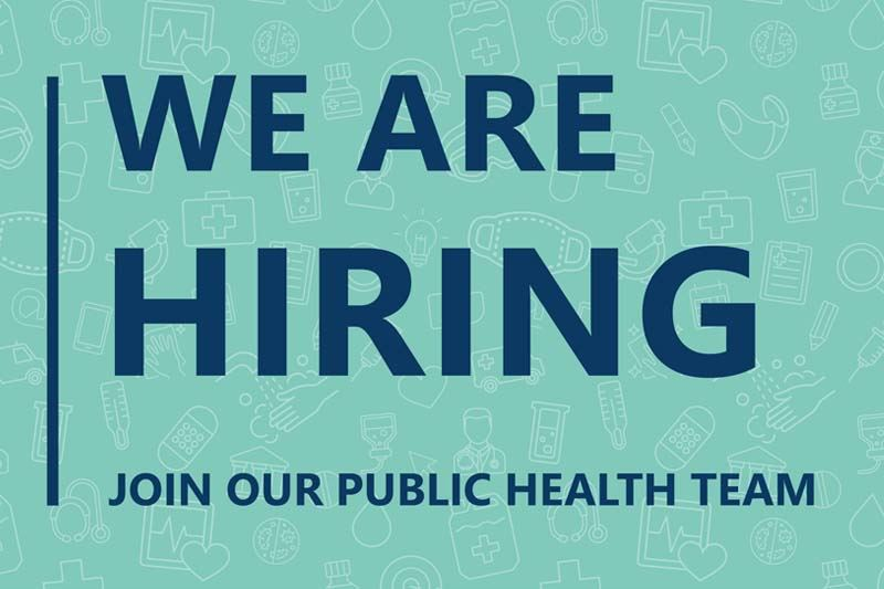 Medical icons with text that reads: We Are Hiring, join our Public Health Team